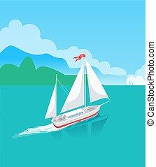 범선, 나무, 물, 수평선, 배, 또는