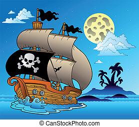 범선, 실루엣, 해적, 섬