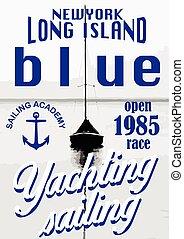 범선, 항해, 포스터, 요약 디자인, 배경, template., 바다, sunset.