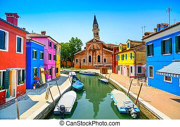베니스, burano, 이탈리아, 운하, 다채로운, 섬, 집, 경계표, 교회, 보트