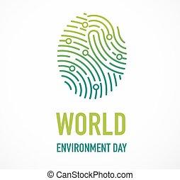 벡터, 가다, 세계, 녹색, 삽화, 개념, 일, 환경, design.