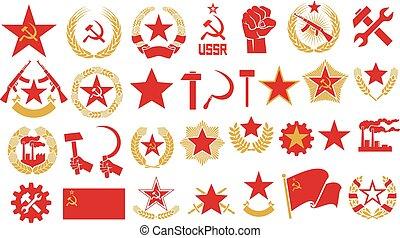 벡터, 공산주의, 세트, 망치, 아이콘, emblem), 별, 낫, 화환, 자동이다, (gear, socialism, 밀, 소련 사회주의 연방 공화국, 공장, 총포의 선조, 회의, 주먹
