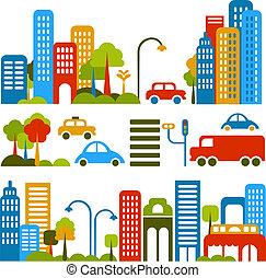 벡터, 귀여운, 거리, 삽화, 도시