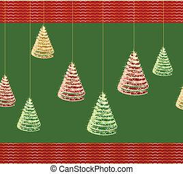 벡터, 나무., 녹색, 크리스마스, 배경