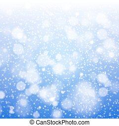 벡터, 눈송이, 크리스마스, 희미해지는, illustration., 배경.