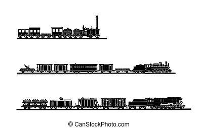 벡터, 늙은, 기차, 배경, 세트, 백색