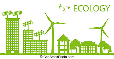 벡터, 도시, 개념, eco, 생태학, 녹색의 배경