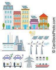 벡터, 도시, 세트, 기치, elements., 도표, eco, 생태계, 삽화, 환경, infographic, 생태학, icons., 본뜨는 공구, 소책자, 녹색, 웹 디자인, 성분, 배경