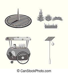 벡터, 도시, 세트, illustration., 공원, 거리, 디자인, icon., 주식