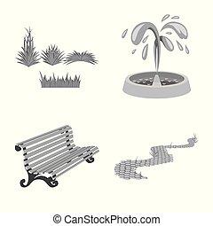 벡터, 도시, 세트, illustration., 공원, 삽화, 거리, icon., 주식