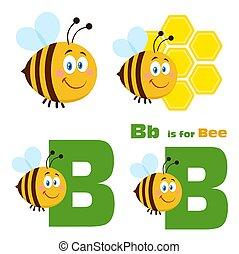 벡터, 만화, 3., 바람 빠진 타이어, 귀여운, 수집, 꿀벌, 세트, 성격