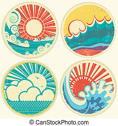 벡터, 바다, 태양, waves., 바다 경치, 아이콘, 포도 수확, 삽화