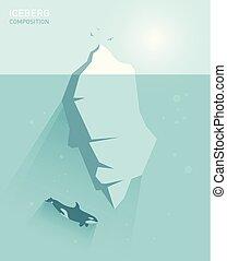 벡터, 바람 빠진 타이어, 개념, 빙산, illustration.