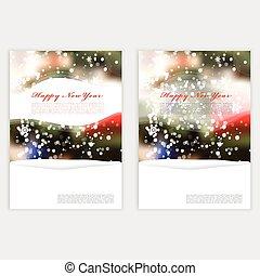 벡터, 백열, 크리스마스, 겨울, 희미해지는, snowflakes.