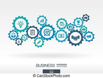 벡터, 비즈니스 아이콘, 마케팅, 떼어내다, 우주기계론, 전략, infographic, 접속된다, 삽화, 배경, 디지털, concepts., concept., 은 설치한다