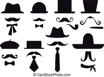 벡터, 세트, 모자, 콧수염