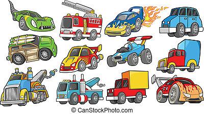 벡터, 세트, 수송, 차량
