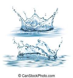 벡터, 실감나는, 물, 세트, 3차원, 튀김, 파랑