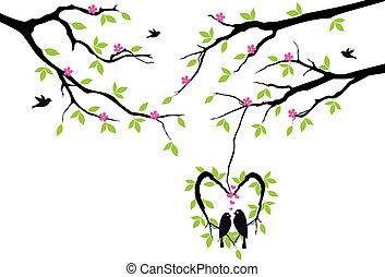 벡터, 심장, 둥지, 나무, 새