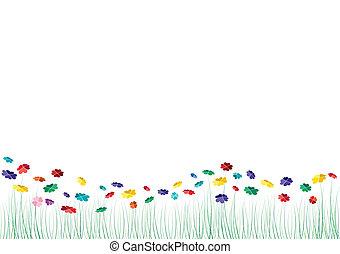 벡터, 심혼, 꽃, 봄