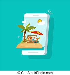 벡터, 여름, smartphone, 경유, clipart, 바람 빠진 타이어, 변하기 쉬운, 바닷가, 여행, cellphone, 장면, 전화, 만화, 행락지, 개념, 온라인의, 인터넷, 직업, 스크린, 치부, 삽화