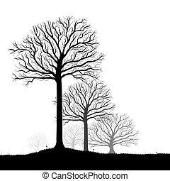벡터, 예술, 실루엣, 나무