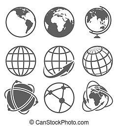 벡터, 지구, 아이콘, 세트, 지구