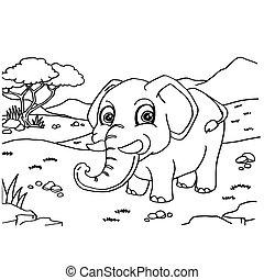 벡터, 코끼리, 채색, 페이지