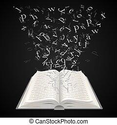 벡터, 편지, 나는 듯이 빠른, 삽화, 배경, 검정, 교육, 열린 책, art.