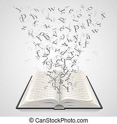 벡터, 편지, 나는 듯이 빠른, 삽화, 배경, 백색, 교육, 열린 책, art.