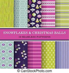 벡터, 10, 공, 눈송이, -, seamless, 직물, 패턴, 배경, 벽지, 스크랩북, 크리스마스