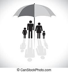 벡터, four(father, 개념, 우산, 반사, 가족, &, graphic-, 차양, 아들, 문자로 쓰는, 어머니, daughter), icon., protection(insurance), 상징., 쇼