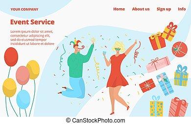 벡터, template., 어릿광대, 사건, 생일 파티, 서비스, 불꽃 놀이, 삽화, baloons, 바람 빠진 타이어, 선물 상자, 웹사이트, 아이콘, 키드 구두, 고립된