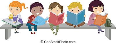 벤치, 동안, 키드 구두, 독서, 착석
