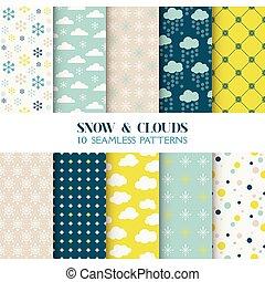 벽지, 10, 구름, -, seamless, 직물, 눈, 패턴, 벡터, 스크랩북, 배경, 직물