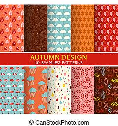 벽지, 10, 세트, -, seamless, 직물, 가을, 패턴, 배경, 벡터, 스크랩북, 직물