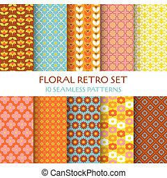 벽지, 10, 세트, -, seamless, 직물, 패턴, 벡터, 디자인, retro, 스크랩북, 꽃의, 배경