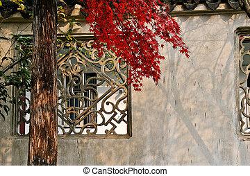 벽, 잎, 빨강