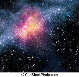 별이 많은, 공간, 배경, 깊다, 밖이다