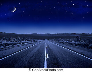 별이 많은, 길, 밤