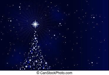 별이 많은, 밤, 나무, 크리스마스, 평화로운