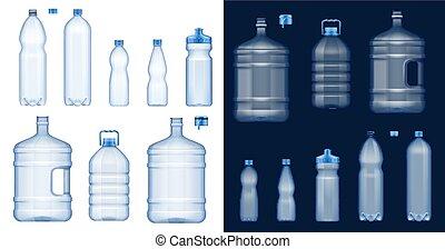 병, 마실 것, 플라스틱, 물, mockups., 컨테이너