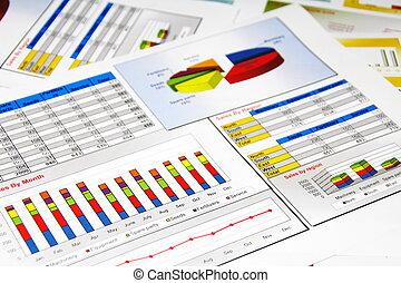 보고, 그래프, 통계, 판매도