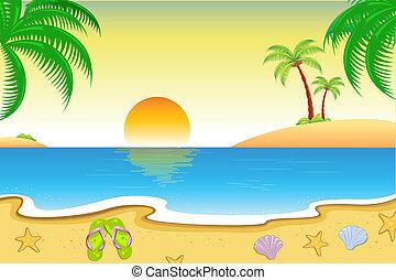 보이는 상태, 바닷가, 제자리표