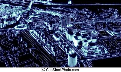 보이는 상태, lig, 공중선, 도시, loopable