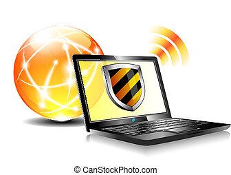 보호, antiviru, 방패, 인터넷