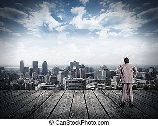 복합어를 이루어 ...으로 보이는 사람, 실업가, 보기., 도시의