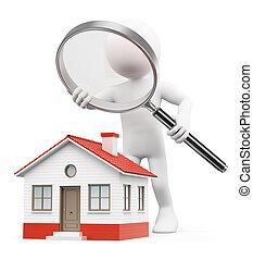 복합어를 이루어 ...으로 보이는 사람, 집, 사람., 백색, 3차원