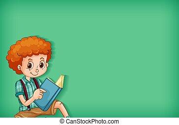 본뜨는 공구, 소년, 책, 배경, 디자인, 행복하다, 독서