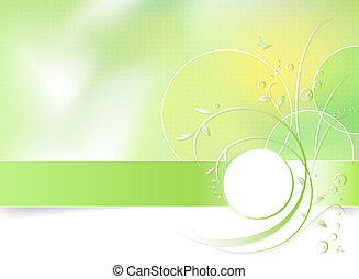 봄 꽃, 녹색의 배경